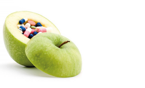 Apple with pills inside
